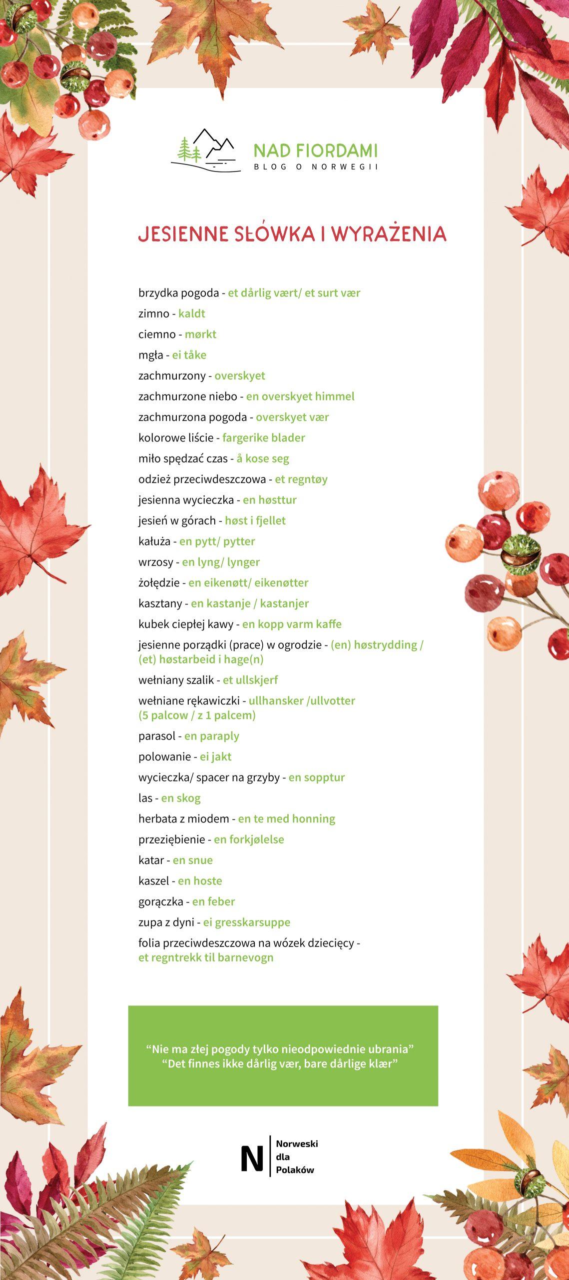 jesień w Norwegii - nauka języka norweskiego